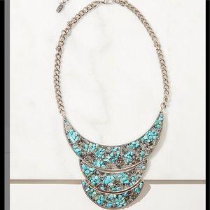 Felicia Jewlery Turquoise & Crystal Bib Necklace